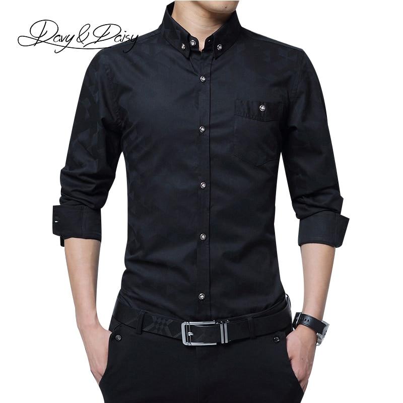 DAVYDAISY Высокое Качество 2017 Полный Рукав Рубашки Мужчины Социальная Работа Марка Отпечатано Мужской Одежды Бизнес Формальные Рубашки 5XL DS-124