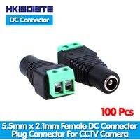 HKIXDISTE 100pcs/lot Female DC Connector 5.5/2.1mm CCTV UTP DC Power Plug Adapter Cable DC/AC 2/Camera Video Balun