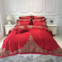 Red Wedding King Queen 4 6 8 Pcs Luxury Long Staple Cotton Embroidery Bedding Set Duvet