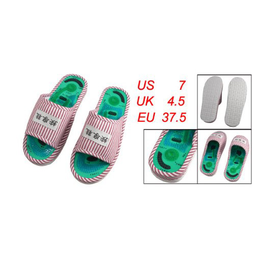 5 X New Ladies' Striped Health Care Foot Acupoint Massage Flat Slippers in Pair 1 pair health care foot acupoint massager flat slippers for male female