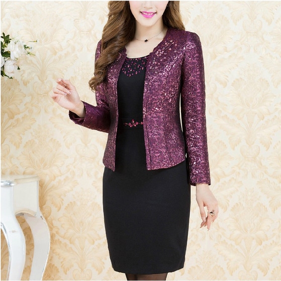 2 Pieces Free Shipping New High Quality Autumn Winter Fashion Dress  Mid Old Age Women Clothing Plus Size Set Suit Slim Mother