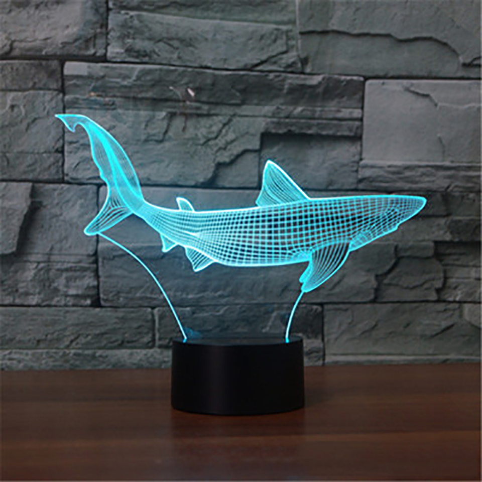 Led Lamps Shark Fish 3d Visual Led Night Light Pearly Shells Gradient Bedside Bedroom Table Lamp Support Usb Childs Toys Gifts Lights & Lighting