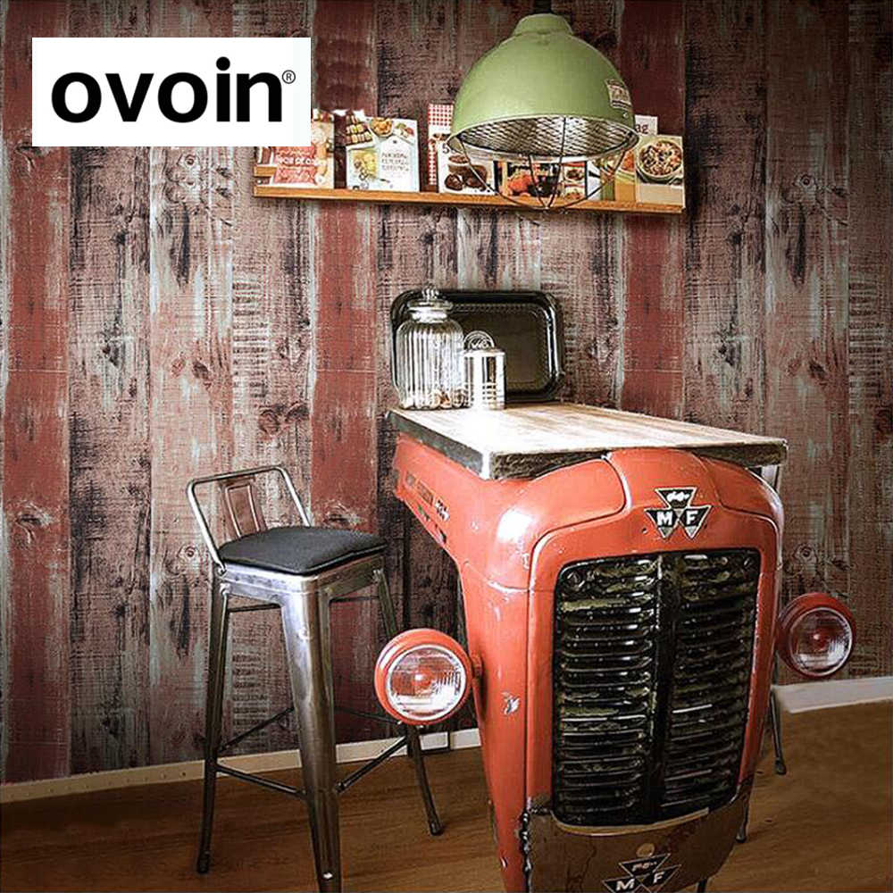 Industrial Vintage Pvc Vinyl Vintage Retro Wallpaper Industrial Wood Panel Wall Paper Roll Coffee Shop Bar Restaurant Wallpapers