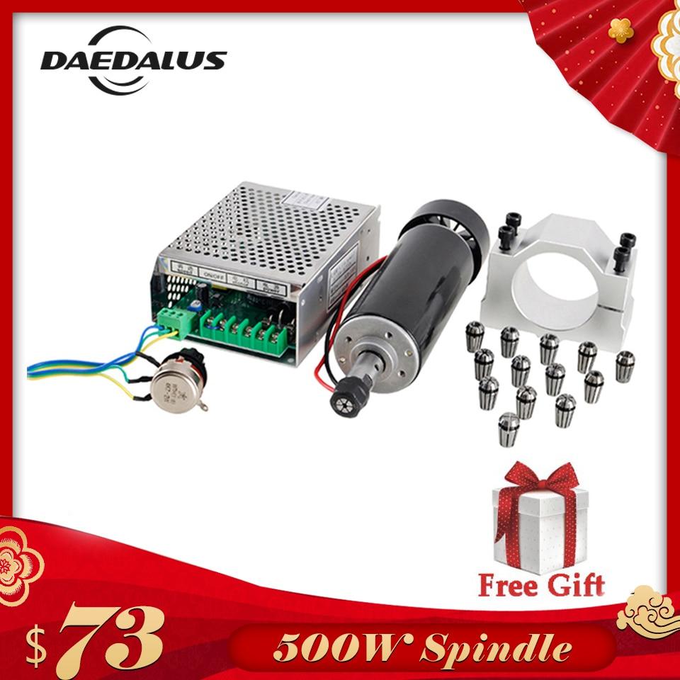 Ar Refrigerado 500 W Eixo ER11 CNC Spindle Motor + Kit de Potência Ajustável de Alimentação 52 MILÍMETROS Grampos ER11 Collet Chuck para a Máquina de Gravura