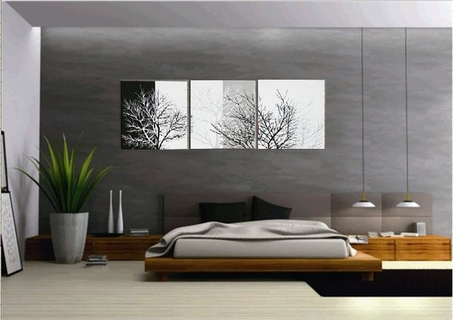 Handmade 3 Piece Black White Contemporary Abstract Oil Painting On Canvas Wall Art Tree Branches Pictures