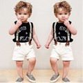 Children's clothing Boys Short sleeve suits T-shirt + shorts + strap three-piece kids clothes boys sets 2-7 years old 40#