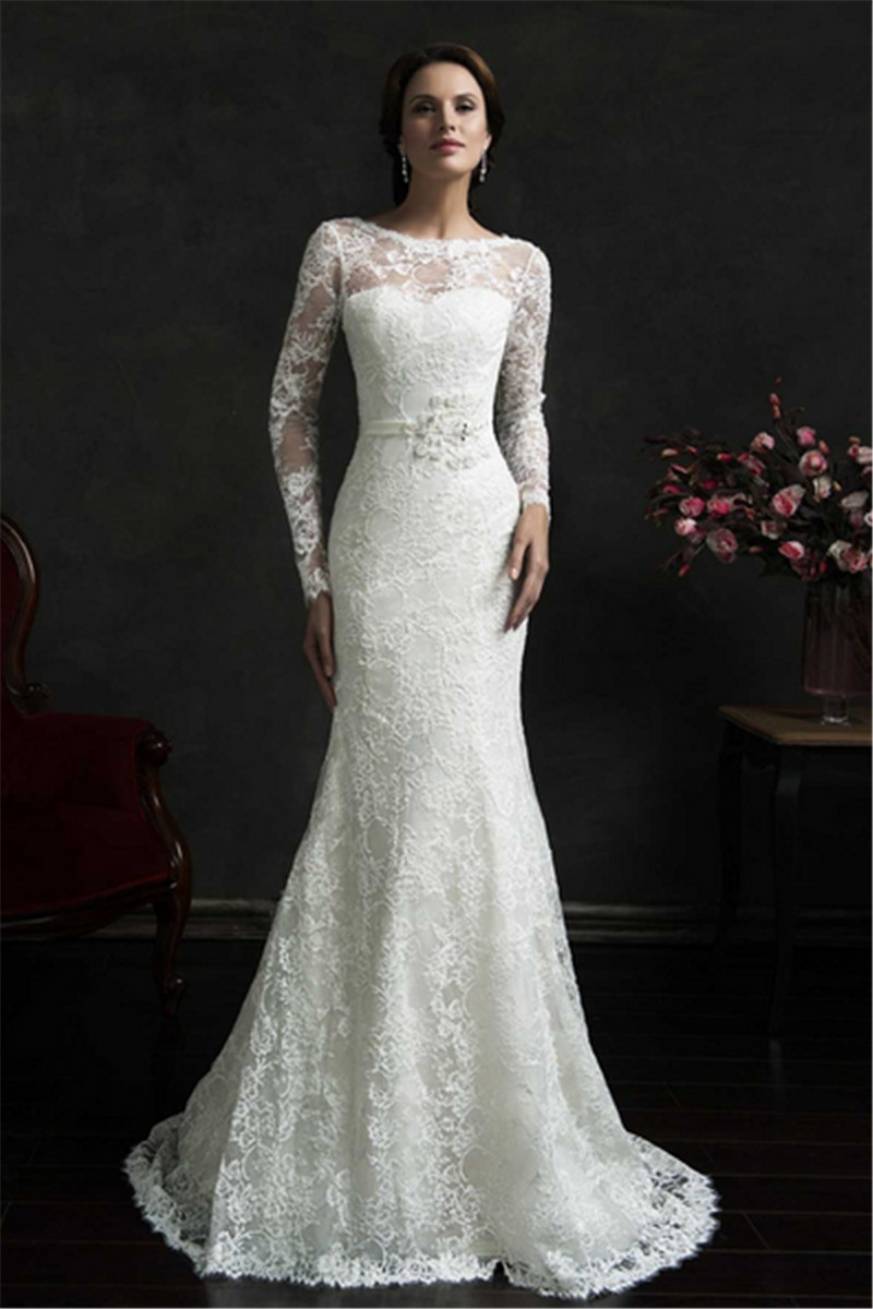 Charming elegant long sleeve vintage mermaid wedding for Long vintage wedding dresses