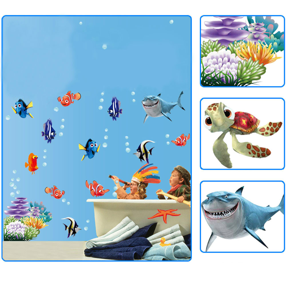 Sticker wallpaper picture more detailed picture about underwater underwater world sea various shark fish ocean cartoon diy wall stickers wallpaper art decor mural kids amipublicfo Choice Image
