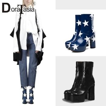 DORATASIA Luxury Brand Ankle Boots Women 2019 Autumn Genuine Leather Platform Booties Women High Heels Shoes Woman