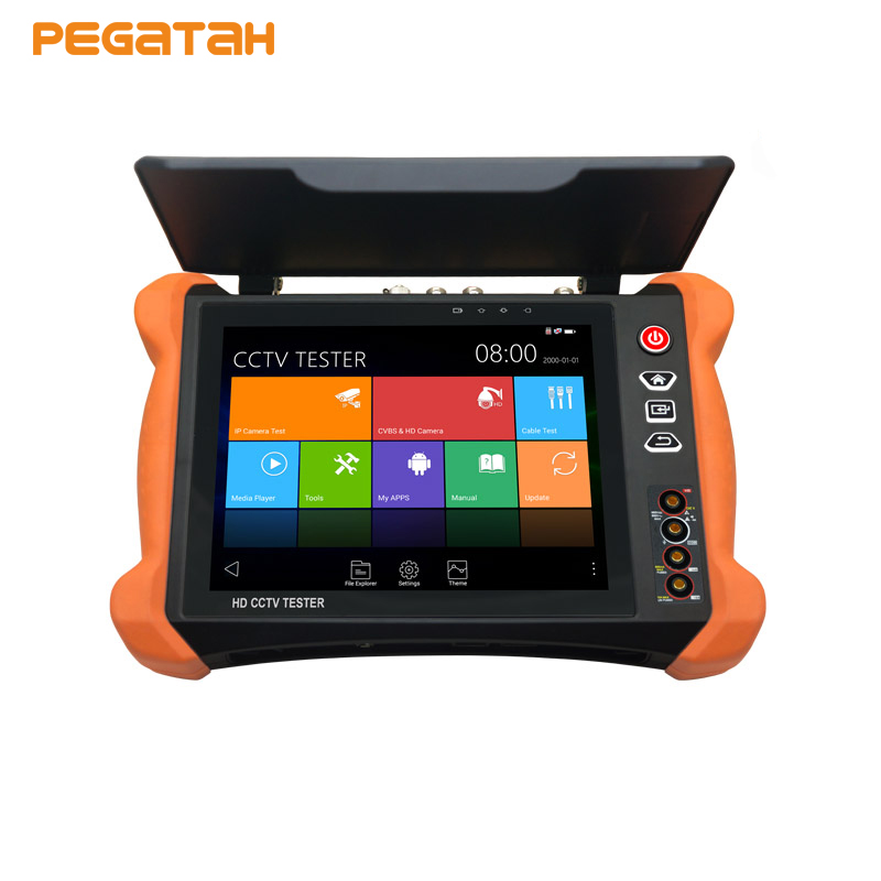 8 inch 4K 8MP IP CCTV Camera Tester Touch screen CVBS TVI CVI AHD SDI IP tester with OPM,TDR test ,Multimeter security camera