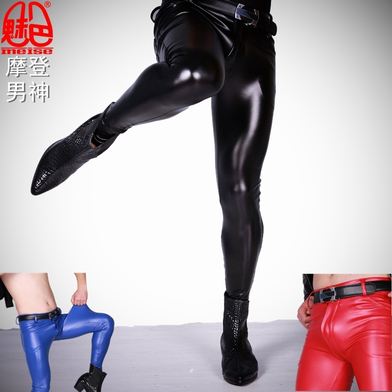 Sexy Men Punk Elastic Tight Trousers PU Faux Leather Shiny Pencil Pants Glossy Stage Pencil Pants Gay Wear Plus Size F123