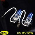 Галогенная лампа Hippcron H3, 12 В, 55 Вт, 5000 К, автомобильный головной светильник, 16 000 лм, темно-синее стекло, супер белый светильник (2 шт.)