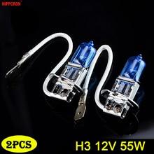 Hippcron h3 lâmpada halógena, 12v, 55w, 5000k, lâmpada para farol de carro 1600lm, vidro azul escuro, luz super branca (2 pcs)