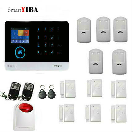 SmartYIBA RFID Wireless WIFI GSM SMS Alarm APP Control Door Intruder Sensor Strobe Siren PIR Moton Alarm Kits Security System wireless alarm accessories glass vibration door pir siren smoke gas water sensor for home security wifi gsm sms alarm system