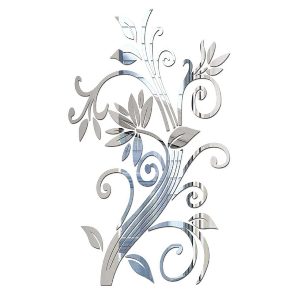 Kualitas Tinggi 100% Merek Baru 3D DIY Daun Bunga Fashion Acrylic Stiker Dinding Modern Dekorasi Stiker Drop Pengiriman