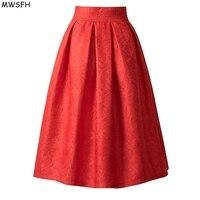 MWSFH Faldas קיץ סתיו סגנון חדש בציר גבוה מותניים חצאית בגדי עבודה Midi נהיגה לראשונה חצאית חצאיות נשים אופנה אדום השחור Femme Saias