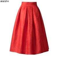 MWSFH New Faldas 2017 Summer Style Vintage Skirt High Waist Work Wear Midi Skirts Womens Fashion