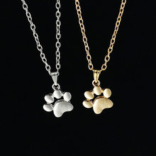 2018 Korean Fashion Cute Pet Dog Footprints Claw Chain Pendant Necklace Necklace And Pendant Women's Jewelry Sweater Necklace(China)