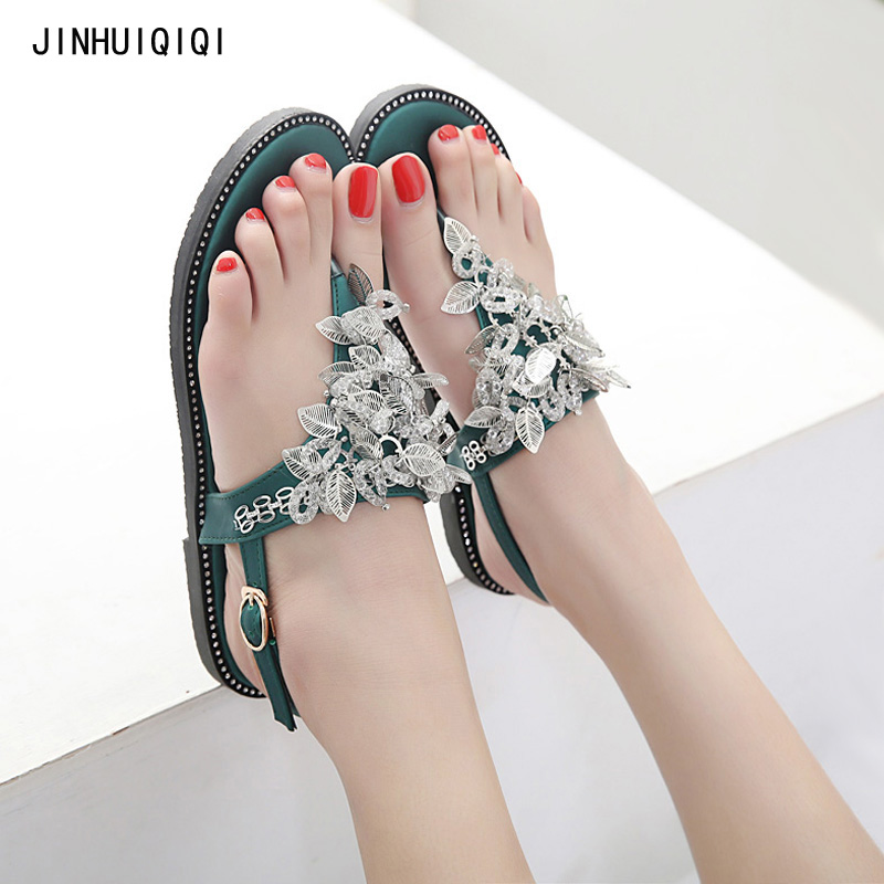 2018 Woman Sandals Rhinestones Crystal Chains leaf beach sandals woman flip flops Gladiator Flat Sandals Chaussure Women Shoes