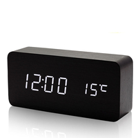 Creative Wooden Digital Alarm Clock Digital Led Table Talking Wood Night Electronic Desk Clock Kids Light Clock Travel Alarm Z02