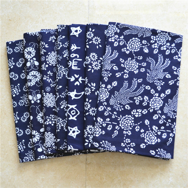 Vintage COTTON Fabric LOT FOR HOME DECOR QUILTING CHINESE STYLE BLUE RED  ART DIY SEWING ACCESSORIES