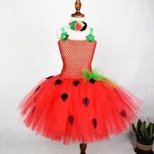 Платье-пачка с клубничкой для девочек; платья для первого дня рождения для маленьких девочек; наряд клубники на День рождения; Детский костюм на Хэллоуин; От 0 до 12 лет