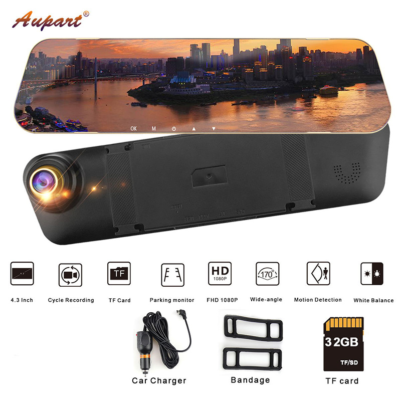 DVR Mirror rear view car camera dash cam Registrar HD Car DVRS 1080P Dashcam Video driving recorder 4.3'' dual lens rearview-in DVR/Dash Camera from Automobiles & Motorcycles