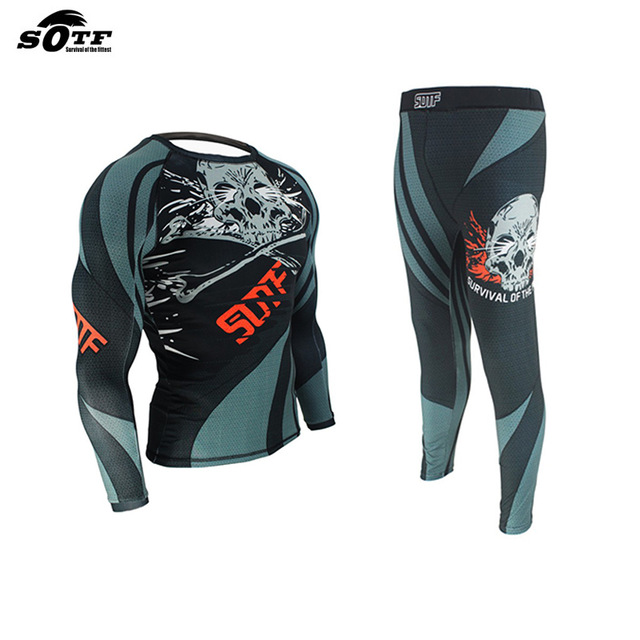 SUOTF MMA Training Compression Jersey & Pants Strechy Skull Rashguard KickBoxing Tight Long T-Shirt Fitness Muay Thai Fightwear