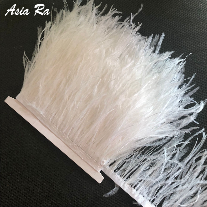 Wholesale 10M 4 6 inch 10 15cm wide natural white ostrich feathers ribbons feather fringe trim