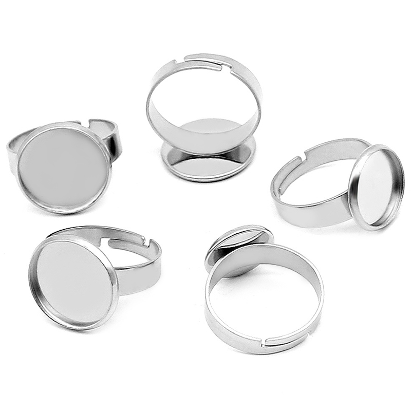 10pcs/Lot No Fade Stainless Steel Adjustable Ring Settings Blank/Base,Fit 8mm-25mm Glass Accessories Wholesale