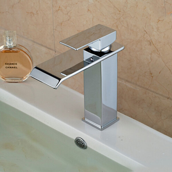 ФОТО Deck mounted chrome polished finish waterfall bathroom Faucet basin mixer tap