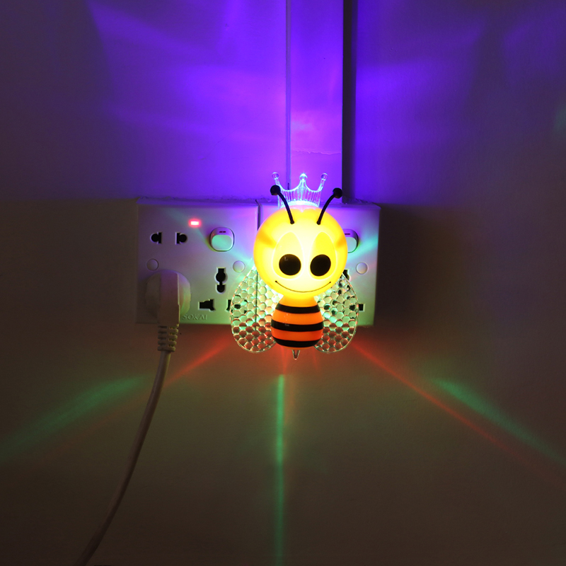 Light Sensor LED Cartoon Bee Night Light Cute Baby Child Bedside Lamp Christmas Day Decoration Gift Lights