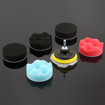 7pcs 3inch Car Washing Tools Buffing Pad Kit for Auto Car Polishing Wheel Kit Buffer With Drill Adapter Car Removes Scratches image