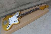 Free Shipping Rosewood Fingerboard 22 Fret F Jaguar gold color jazz Electric Guitar 14 5 10