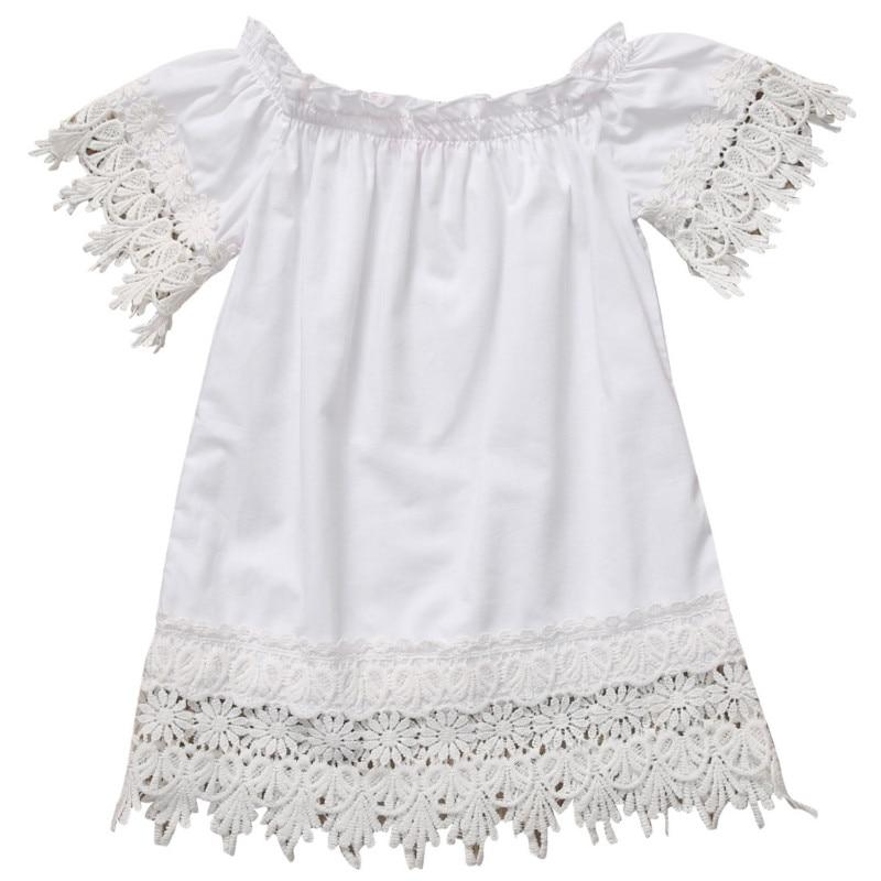Toddler Kids Baby Girls Boho Lace Short Sleeve Princess Mini Dress Off Shoulder Party Gown Formal Dress Summer Beach Sundress day dress
