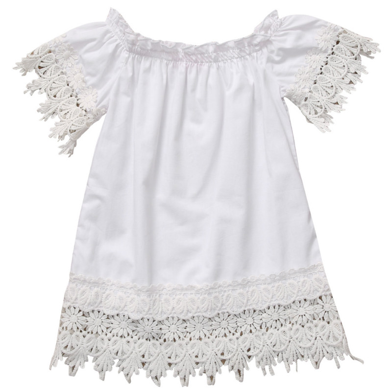 Toddler Kids Baby Girls Boho Lace Short Sleeve Princess Mini Dress Off Shoulder Party Gown Formal Dress Summer Beach Sundress lovely toddler kids baby girl summer dress bunny ear short sleeve hooded outfit one pieces princess children dresses sundress