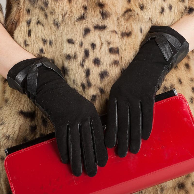 Kursheuel mode femmes arc gants en cuir importé chèvre daim gants en cuir gants en cuir femme hiver femmes gants