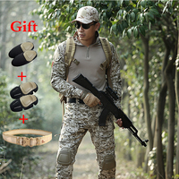 Men Ghillie Hunting Camouflage Suit Combat Shirt Tactical Pants With Knee Pads Military Training Sports Hiking Combat Uniform