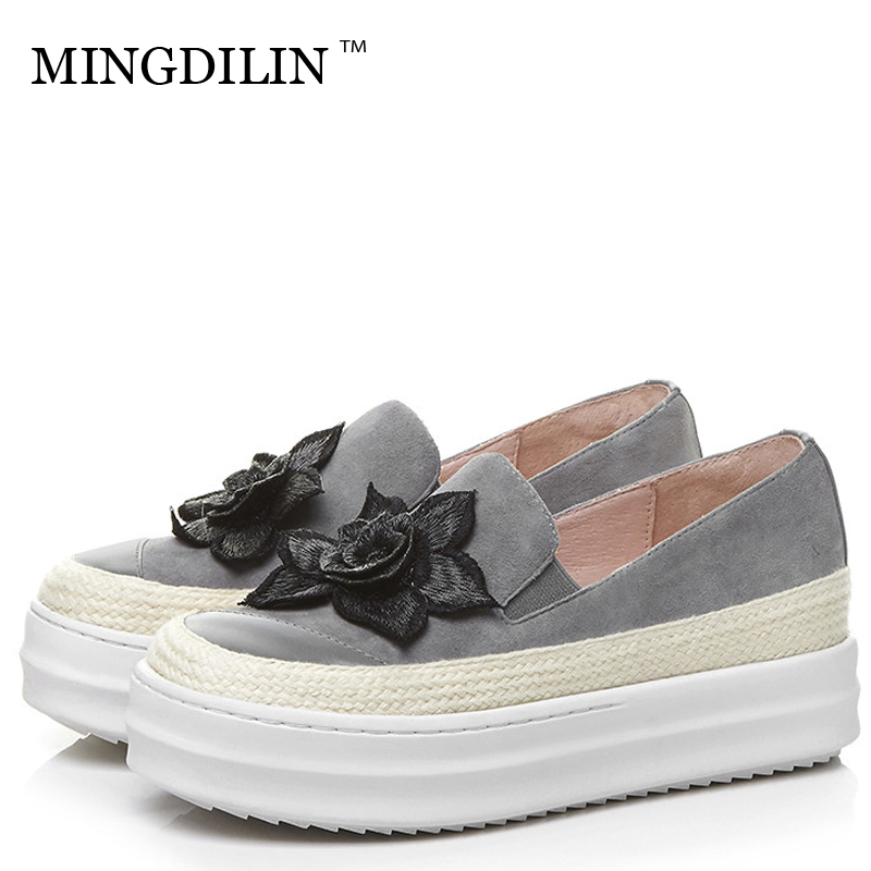 MINGDILIN Women's Flat Platform Shoes Woman Genuine Leather Loafers Shoes Plus Size Flower Casual Genuine Leather Platform Shoes muyisexi solid genuine leather with 3d flower loafers sneakers flat height increase casual women shoes gray black plus size bs01