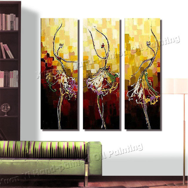 3 Panel Paintings Large Canvas Paintings Modern Home Decoration Decorative Oil Painting Ballet Wall Pictures For