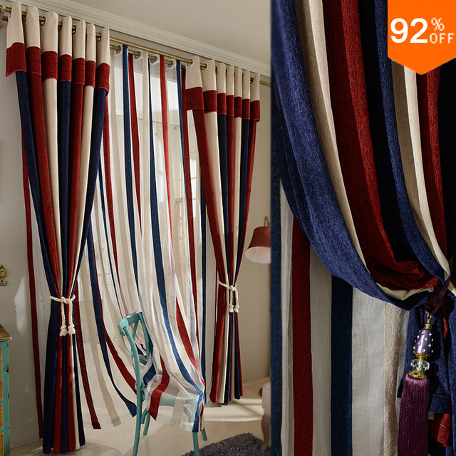 Most Thick Blackout Red Blue Stripe Patchwork Curtains Study Room Curtain  Classic Living Rooms Pontificalu0027s Bedroom