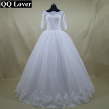QQ Lover 2017 Vestido De Noiva Half Sleeves Romantic Wedding Dress Lace Up Back Tulle Bridal Gowns