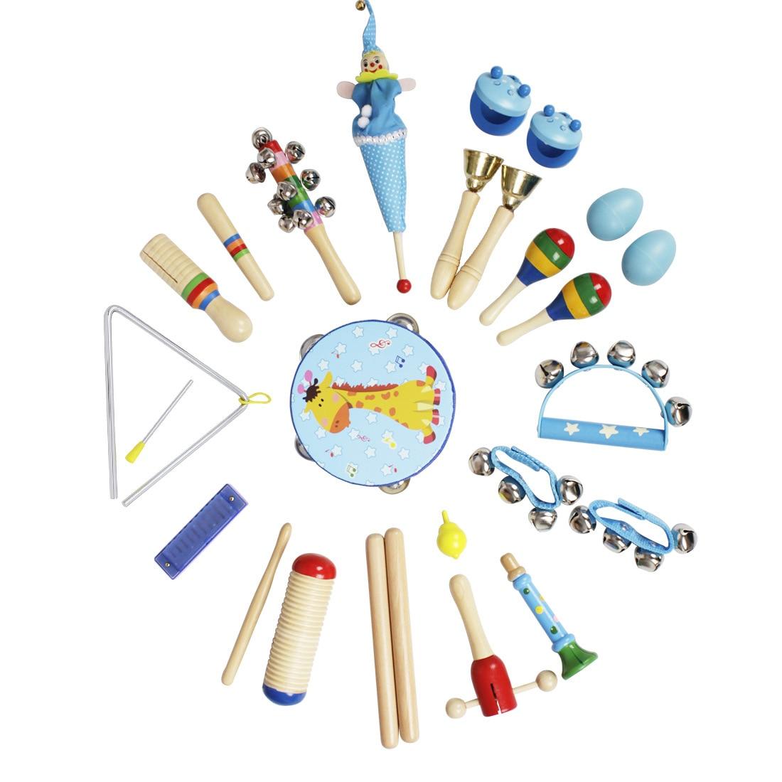 23 pièces matériel éducatif en bois tambours à Percussion ensemble d'instruments de musique cloche enfants développement Intelligent bébé jouets