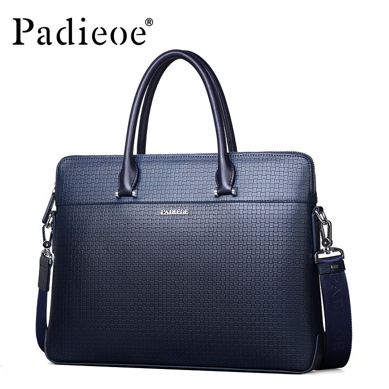 Padieoe Genuine Leather Briefcase High Quality Messenger Bags Real Cow Leather Business Briefcases Shoulder Handbags For Male padieoe luxury brand genuine real cow leather messenger bags business men briefcases handbags men totes casual male bag shoulder
