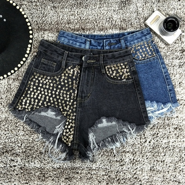 CamKemsey High Waist Denim Shorts Women Streetwear Punk Rivet Holes Ripped Black Jeans Shorts Female Pockets Hot Shorts Summer 3