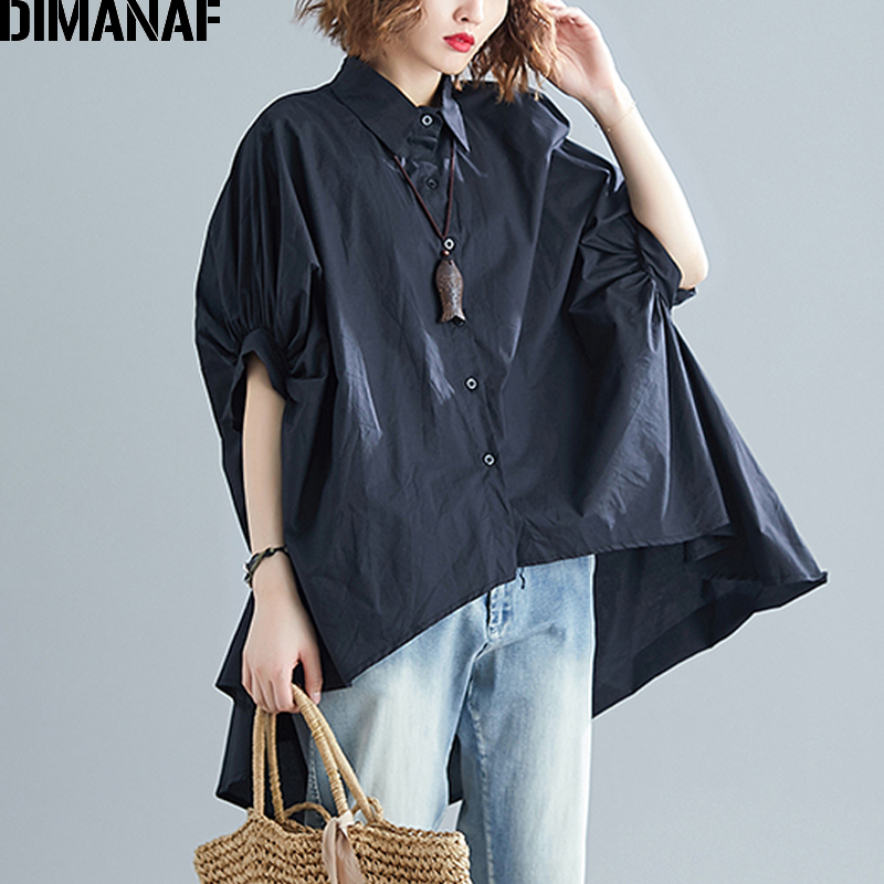 DIMANAF Plus Size Women   Blouse     Shirts   Big Size Summer Lady Tops Tunic Solid Loose Casual Batwing Sleeve Female Clothes 5XL 6XL