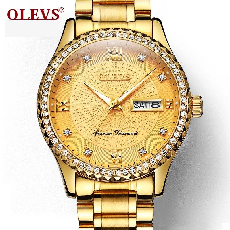 OLEVS Üst Marka Lüks Mens Qol Saatları Paslanmayan Poladdan Qol - Kişi saatları - Fotoqrafiya 2