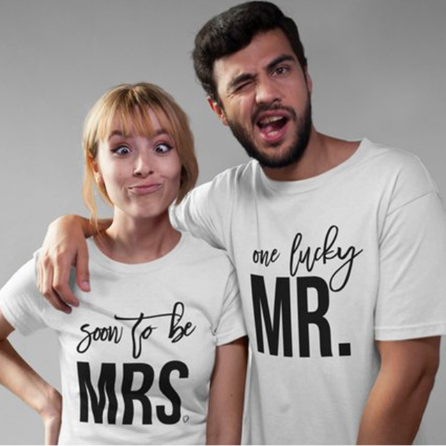 8fb713ca21 Enjoythespirit Couple Tshirt Soon To Be Mrs with Heart and One Lucky Mr. T- Shirt Engaged Couples Matching Shirts
