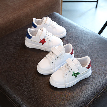 Sneakers children in the autumn of 2019 new fashion red shiny five-pointed star blue casual sneakers for girls childrens shoes