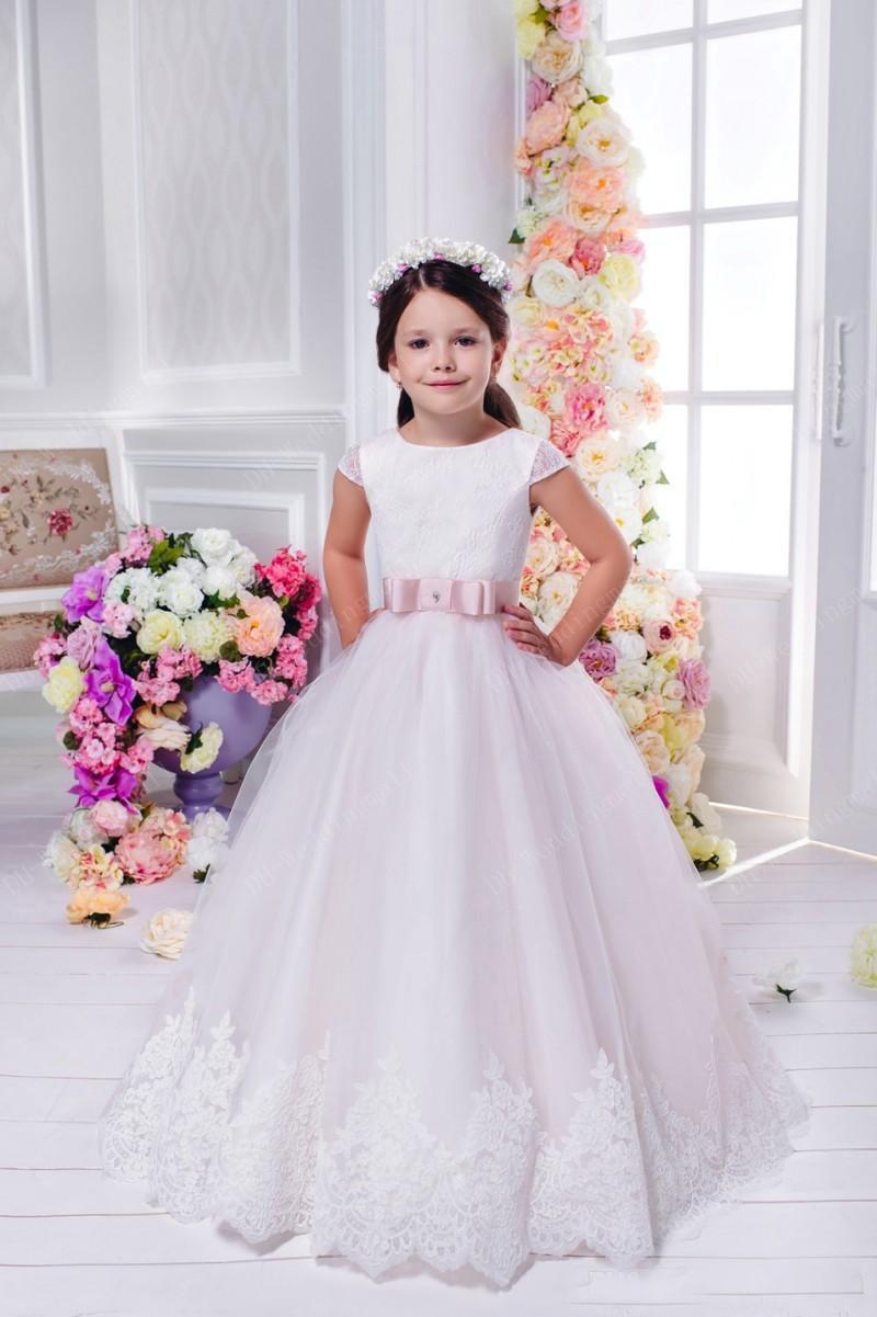 Sleeveless Vintage Princess Floral Lace Long Flower Girls Dresses ...